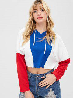 ZAFUL Contrast Drawstring Crop Hoodie - Multi Xl