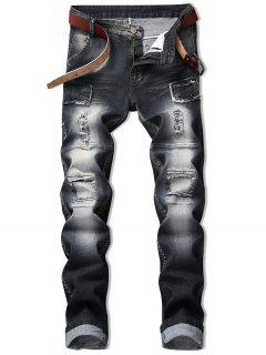 Vintage Patchwork Ripped Faded Jeans - Black 34