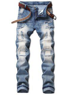 Vintage Patchwork Ripped Faded Jeans - Denim Blue 34