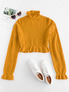 Solid Color Ruffles Crop Sweater - Bee Yellow L