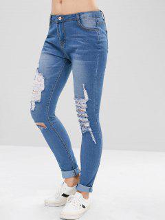 Distressed Skinny Jeans - Denim Blue L