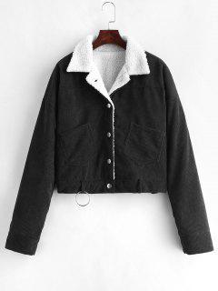 Fleece Drop Shoulder Corduroy Jacket - Black L