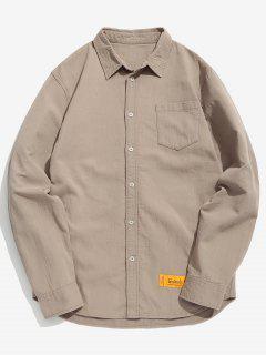 Elbow Patchwork Chest Pocket Shirt - Khaki Xl