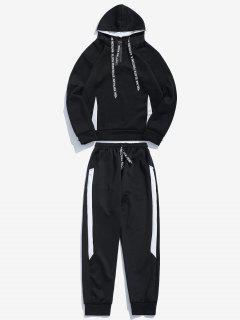 Contrast Hoodie Sweatpants Suit - Black M