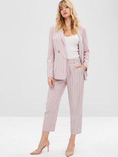 ZAFUL Striped Lapel Blazer And Pants Set - Lipstick Pink L