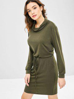 Solid Color Drawstring Waist Dress - Army Green S