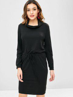 Vestido De La Cintura Del Cordón Del Color Sólido - Negro M