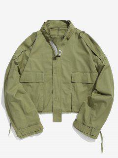 Belt Embellished Loose Fitting Short Jacket - Army Green