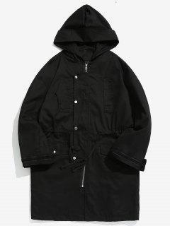 Manteau à Capuche Taille à Cordon - Noir L