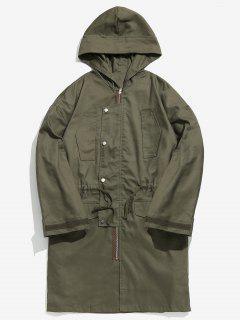Drawstring Waist Hooded Coat - Army Green Xl