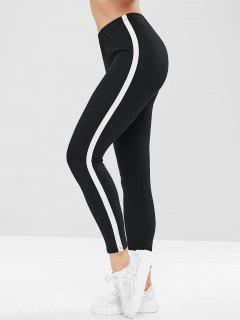 Stripe Trim Leggings - Black L
