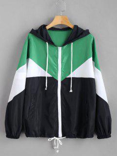 Color Block Zip Up Hooded Jacket - Multi M