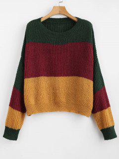 ZAFUL Oversized Stripes Sweater - Multi-a