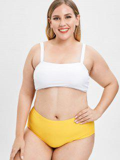 Padded Plus Size High Waisted Bikini Set - Bee Yellow 2x