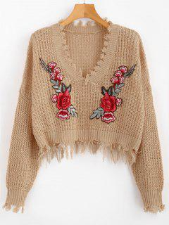 V Neck Frayed Floral Embroidered Pullover Sweater - Camel Brown