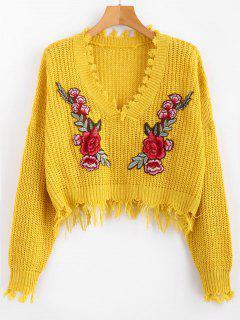 Suéter Con Cuello Bordado Floral Deshilachado Con Cuello En V - Amarillo
