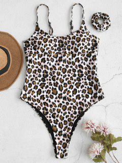 ZAFUL Leopard One Piece Swimsuit With Hair Band - Multi S
