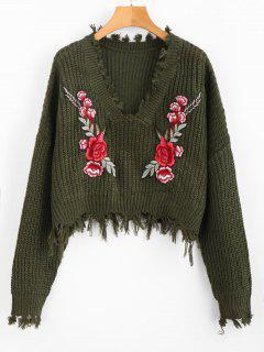 V Neck Frayed Floral Embroidered Pullover Sweater - Army Green