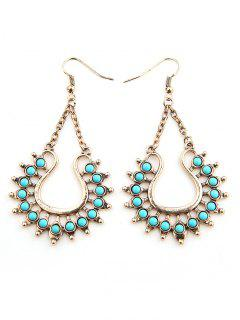 Faux Turquoise Decor Geometric Earrings - Gold