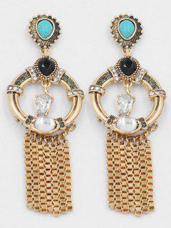 Artificial Crystal Tassel Design Earrings - Gold