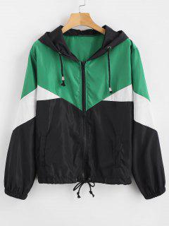 Zip Up Color Block Windbreaker Jacket - Multi L