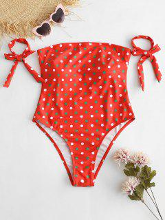 ZAFUL Christmas Tie Polka Dot Bandeau Swimsuit - Red L