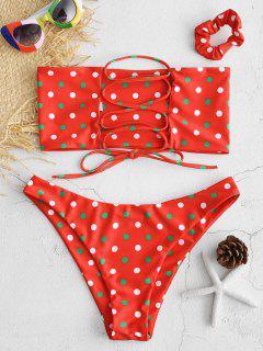 ZAFUL - Polka Dot-Bikini Mit Schnürung Und Haarband - Rot M