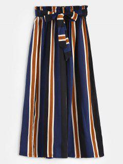 Pockets Belted Stripes Wide Leg Pants - Multi L