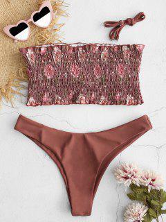 ZAFUL Floral Smocked Bandeau Bikini Set - Sepia L