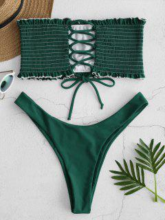 ZAFUL Lace-up Shirred Bandeau Bikini Set - Medium Sea Green S