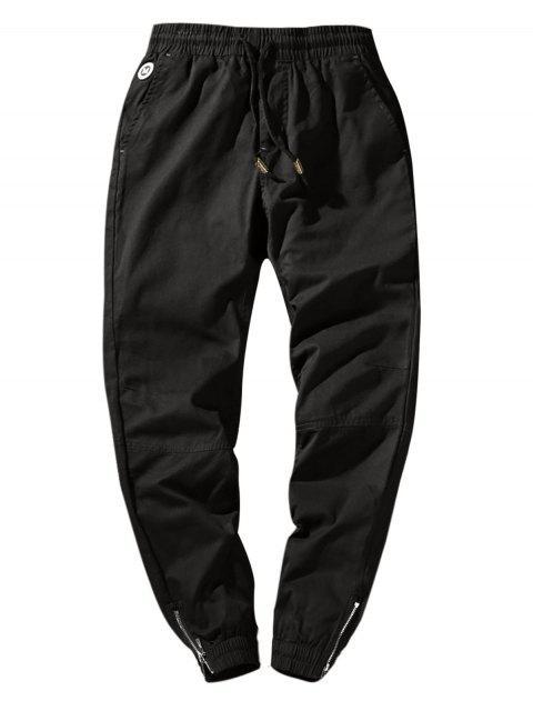 fashion Zip Hem Solid Color Drawstring Waist Jogger Pants - BLACK S Mobile