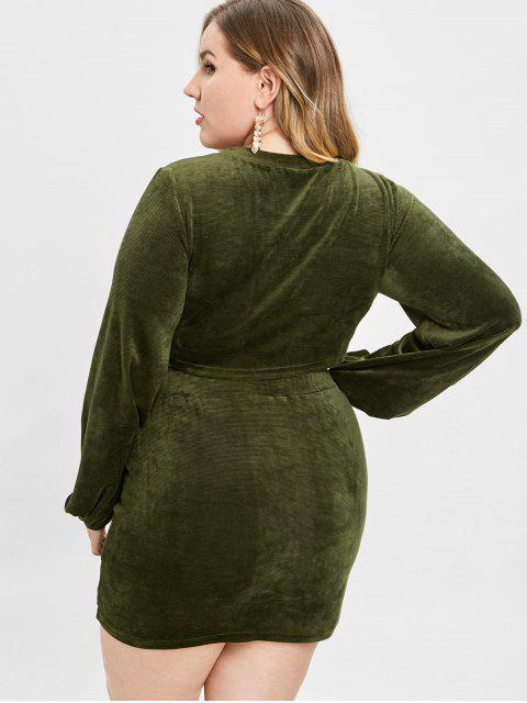 womens ZAFUL Velvet Plus Size Tee and Skirt Set - ARMY GREEN 1X Mobile