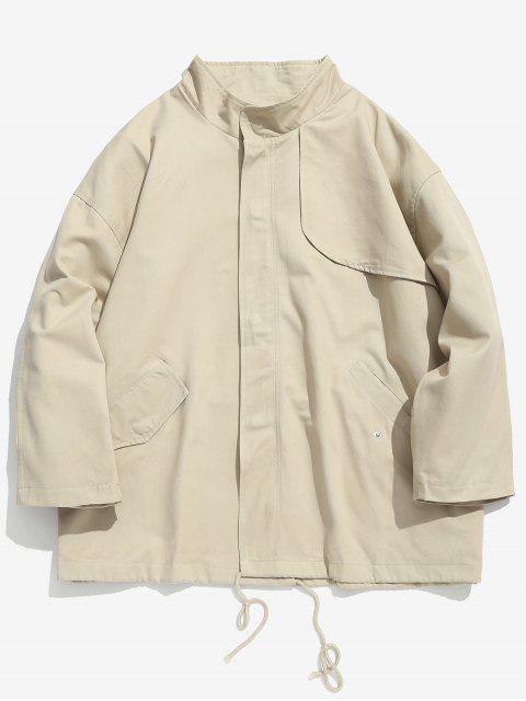 affordable Drop Shoulder Drawstring Jacket - LIGHT KHAKI L Mobile