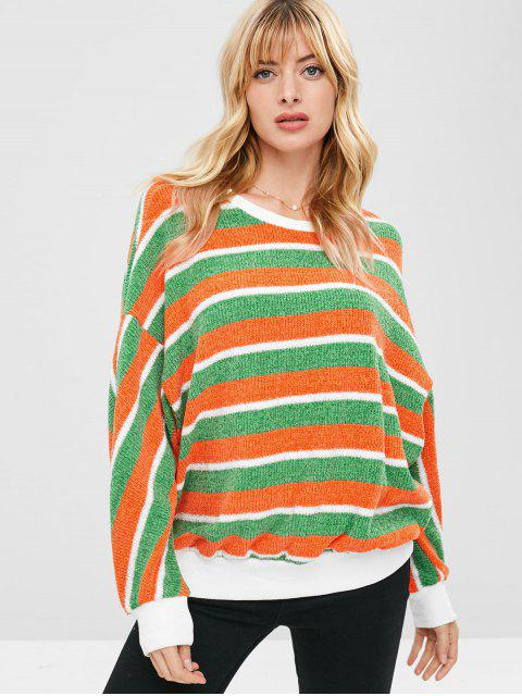 women's ZAFUL Contrast Striped Sparkly Christmas Sweater - MULTI L Mobile