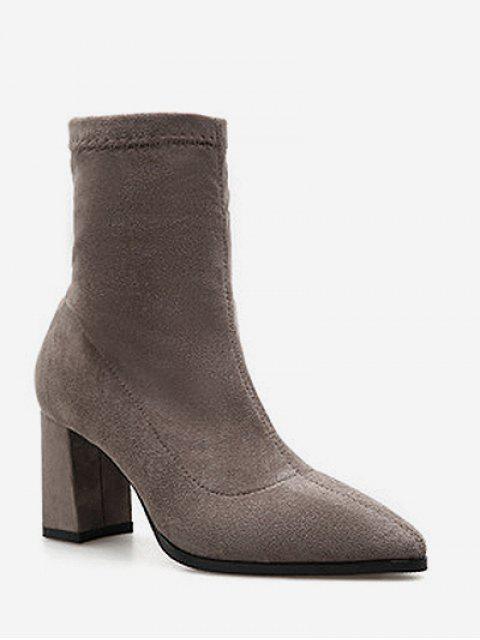 ladies Pointed Toe Chunky Heel Suede Boots - DARK KHAKI EU 38 Mobile