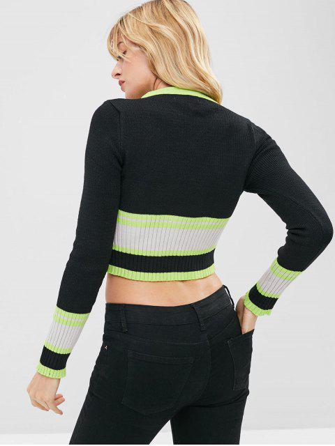 スリムカラーブロックセーター - マルチ ワンサイズ Mobile