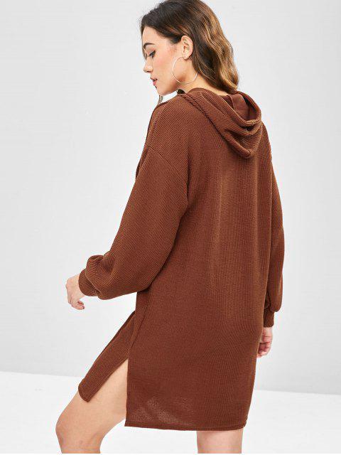 Robe Pull à Capuche à Fente Latérale - Châtaigne Taille Unique Mobile