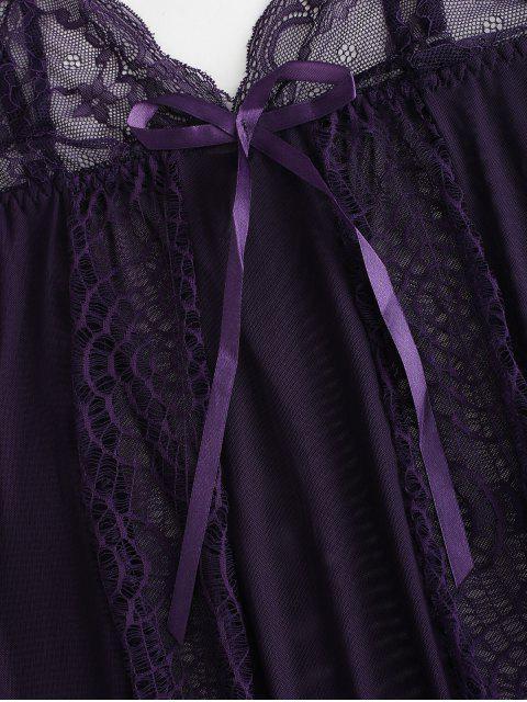 outfit Lace Sheer Ruffe Lingerie Dress - PURPLE IRIS L Mobile