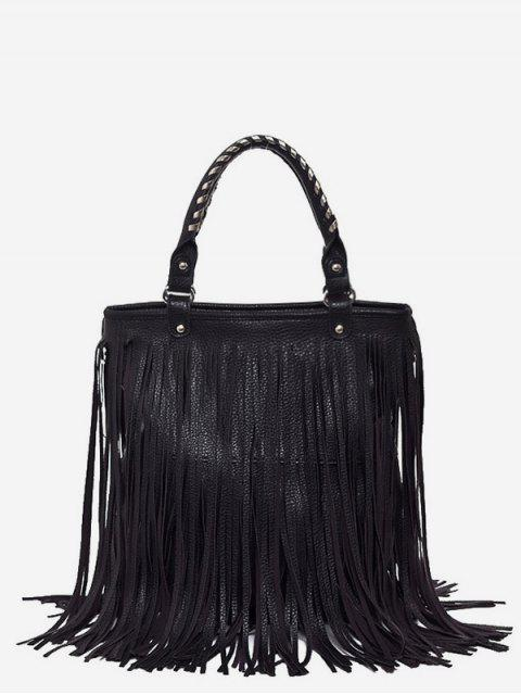 fancy PU Leather Tassel Design Handbag - BLACK  Mobile