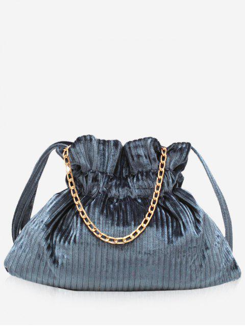 affordable Corduroy Leather Bucket Shoulder Bag - LIGHT SLATE GRAY  Mobile