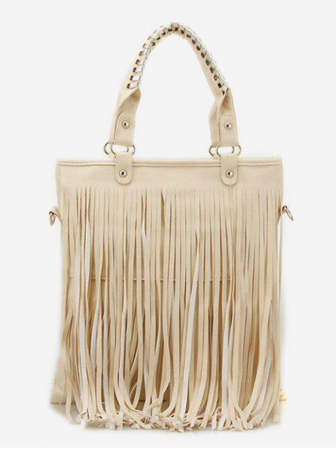best PU Leather Tassel Design Handbag - BEIGE  Mobile