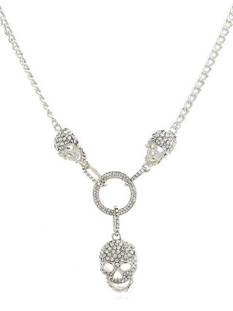 buy Hollow Skull Shape Artificial Crystal Necklace - SILVER  Mobile