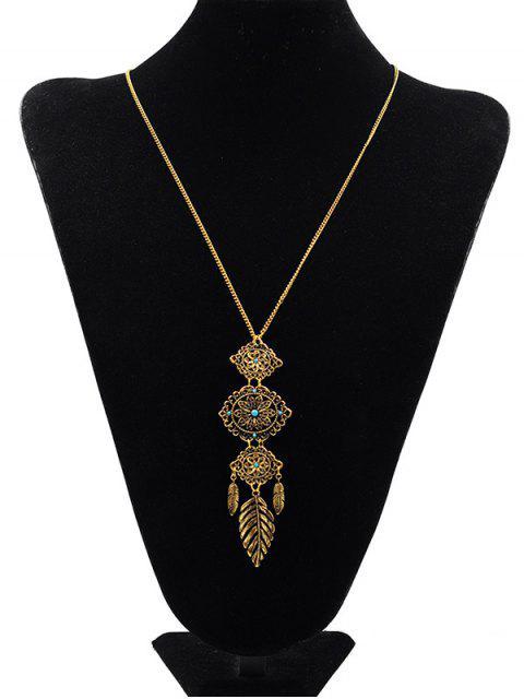 Цветочный дизайн С подвеской Свитер Ожерелье - Золотой  Mobile