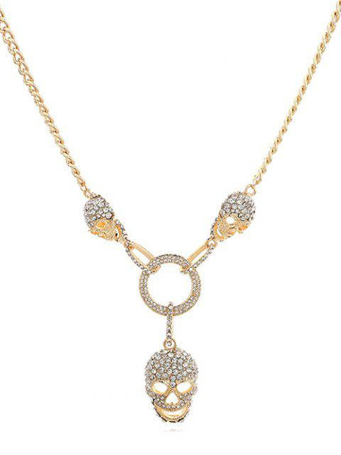 online Hollow Skull Shape Artificial Crystal Necklace - GOLD  Mobile