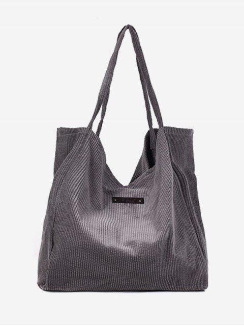 outfit Corduroy Large Capacity Solid Color Shoulder Bag - SMOKEY GRAY  Mobile