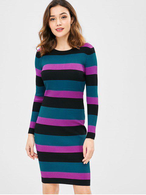 Gestreiftes geripptes, figurbetontes Pulloverkleid - Multi Eine Größe Mobile