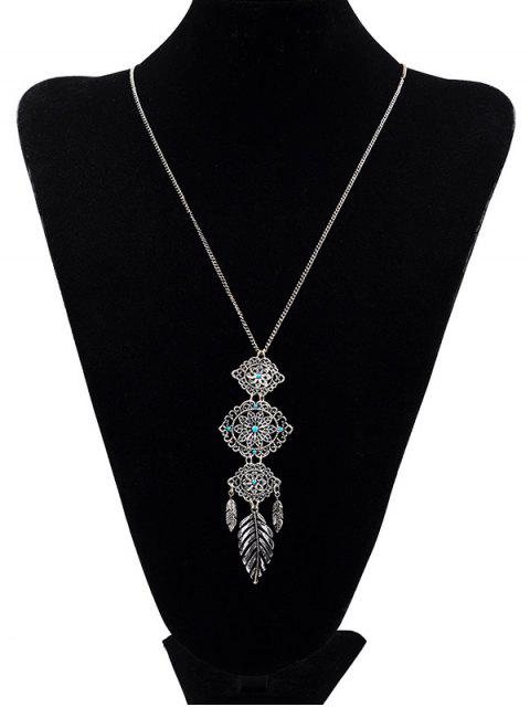 buy Floral Design Pendant Sweater Necklace - SILVER  Mobile