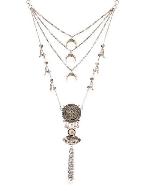 online Fan Shape Tassel Design Pendant Necklace - GOLD  Mobile
