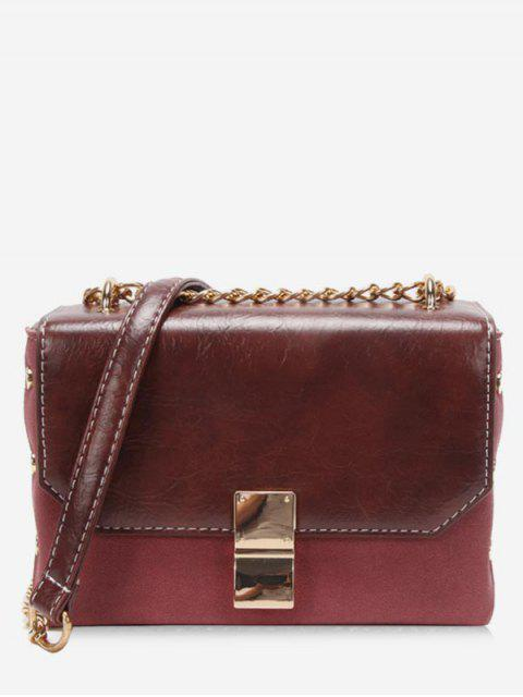 new PU Hasp Design Link Chain Crossbody Bag - RED WINE  Mobile