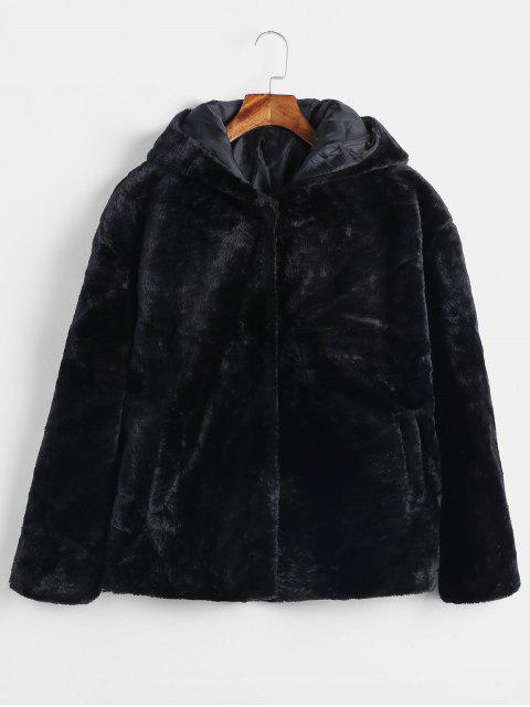 Manteau à Capuche en Fausse Fourrure avec Bouton-Pression - Noir S Mobile